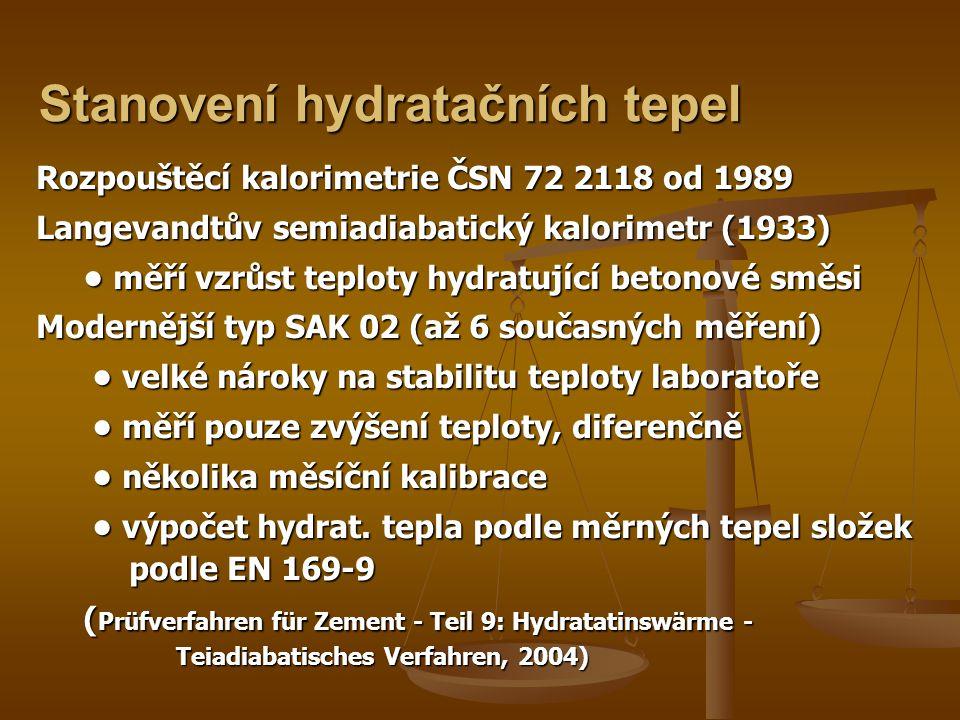 Stanovení hydratačních tepel