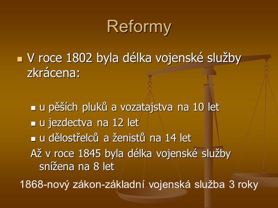 Reformy V roce 1802 byla délka vojenské služby zkrácena: