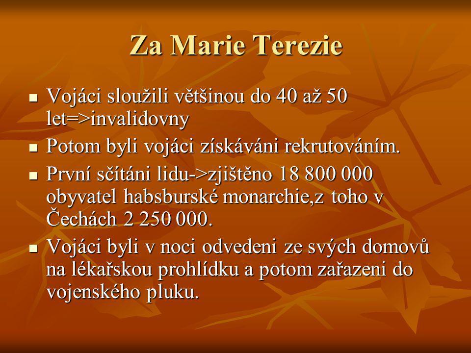 Za Marie Terezie Vojáci sloužili většinou do 40 až 50 let=>invalidovny. Potom byli vojáci získáváni rekrutováním.
