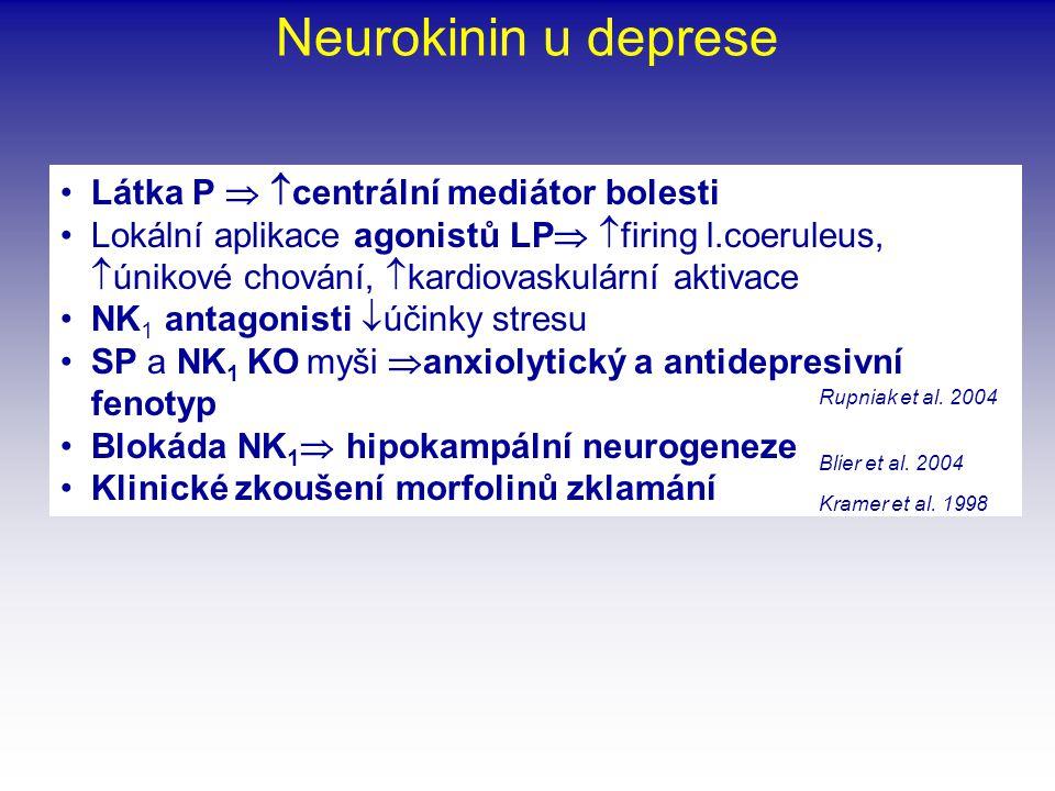 Neurokinin u deprese Látka P  centrální mediátor bolesti