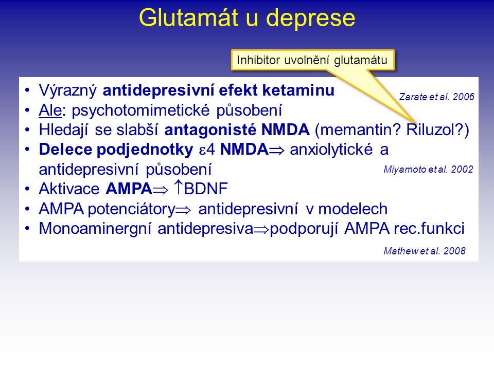 Glutamát u deprese Výrazný antidepresivní efekt ketaminu