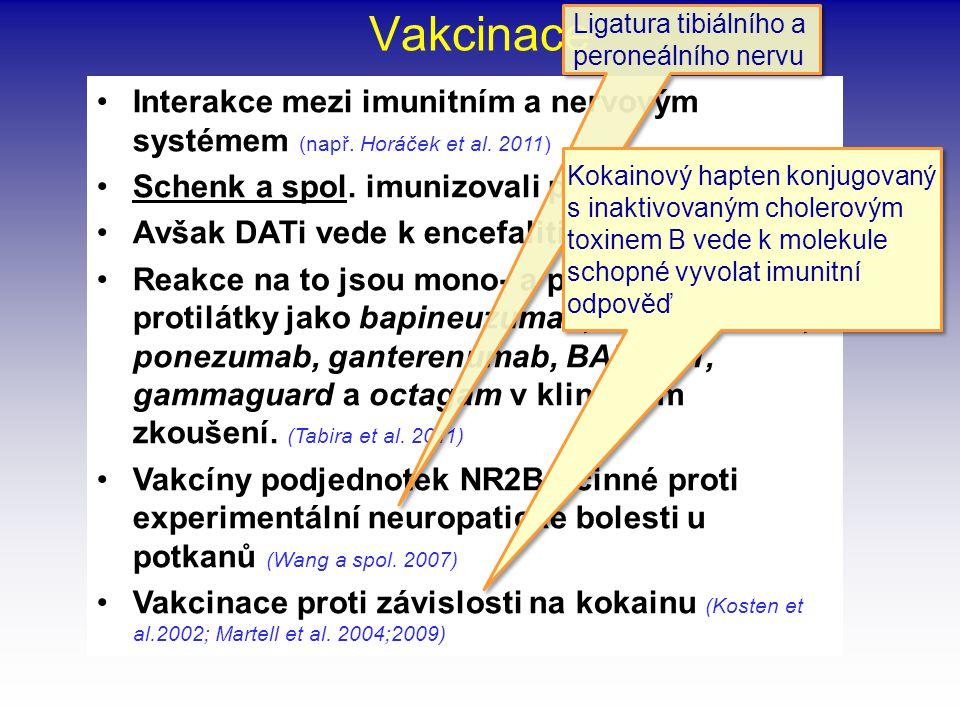 Vakcinace Ligatura tibiálního a peroneálního nervu. Interakce mezi imunitním a nervovým systémem (např. Horáček et al. 2011)