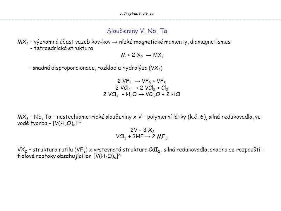 5. Skupina: V, Nb, Ta Sloučeniny V, Nb, Ta. MX4 – významná účast vazeb kov-kov → nízké magnetické momenty, diamagnetismus.