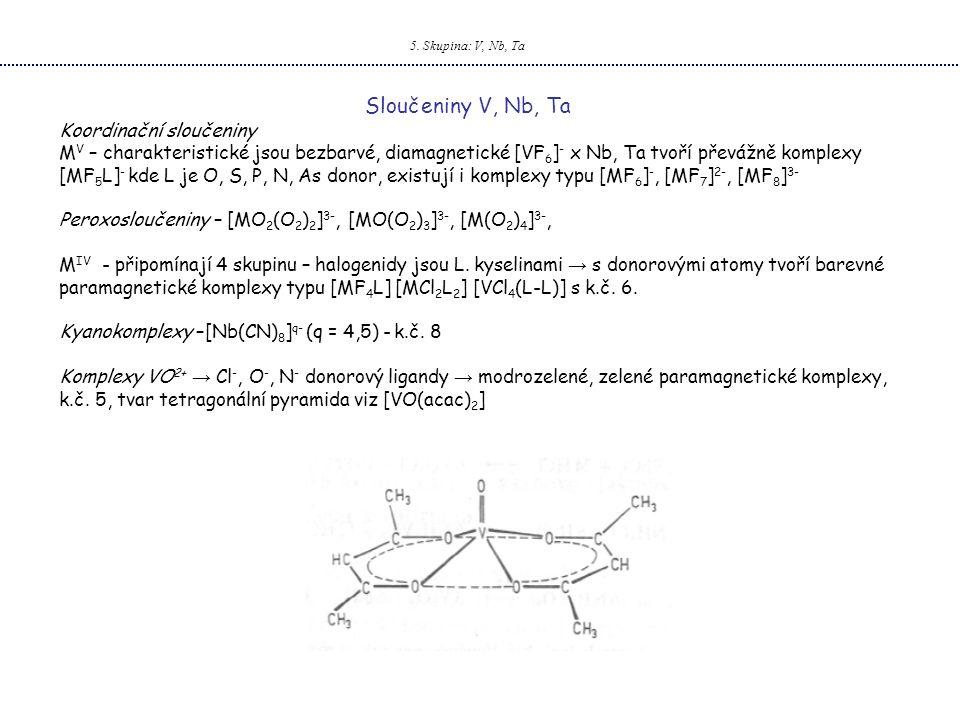 Sloučeniny V, Nb, Ta Koordinační sloučeniny