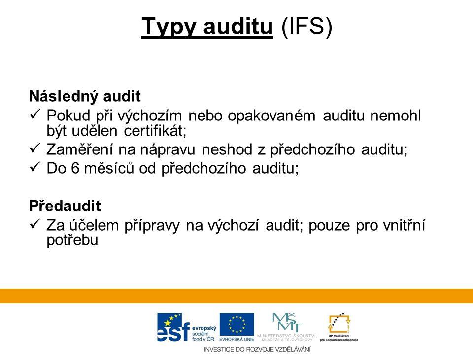 Typy auditu (IFS) Následný audit