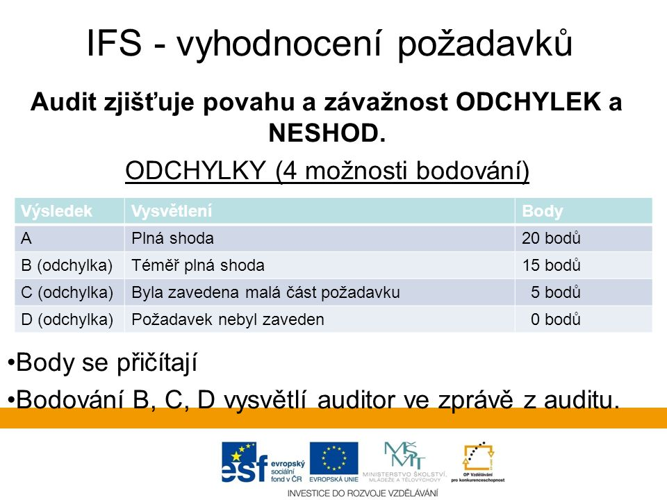 IFS - vyhodnocení požadavků