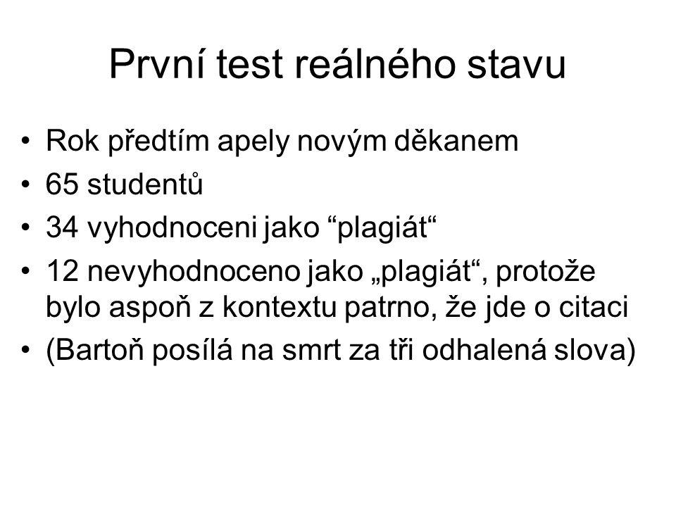 První test reálného stavu
