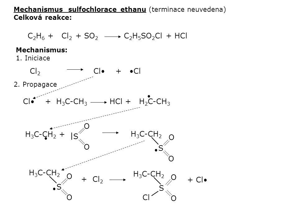 C2H6 + Cl2 + SO2 C2H5SO2Cl + HCl Cl2 Cl• + •Cl Cl• + H3C-CH3