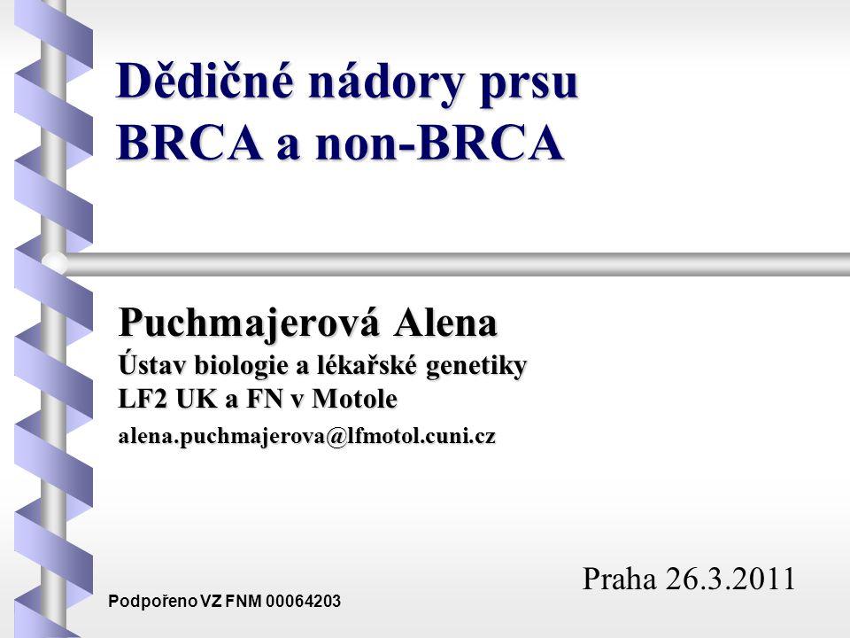Dědičné nádory prsu BRCA a non-BRCA