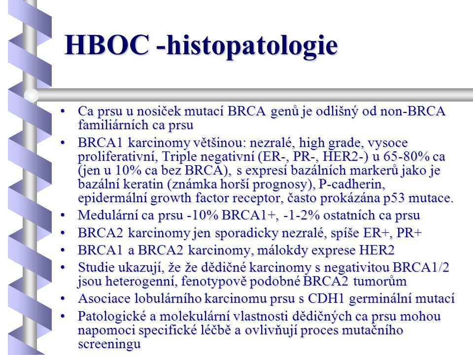 HBOC -histopatologie Ca prsu u nosiček mutací BRCA genů je odlišný od non-BRCA familiárních ca prsu.