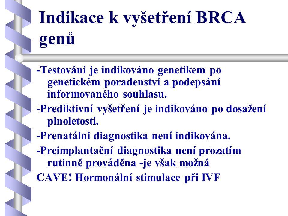 Indikace k vyšetření BRCA genů