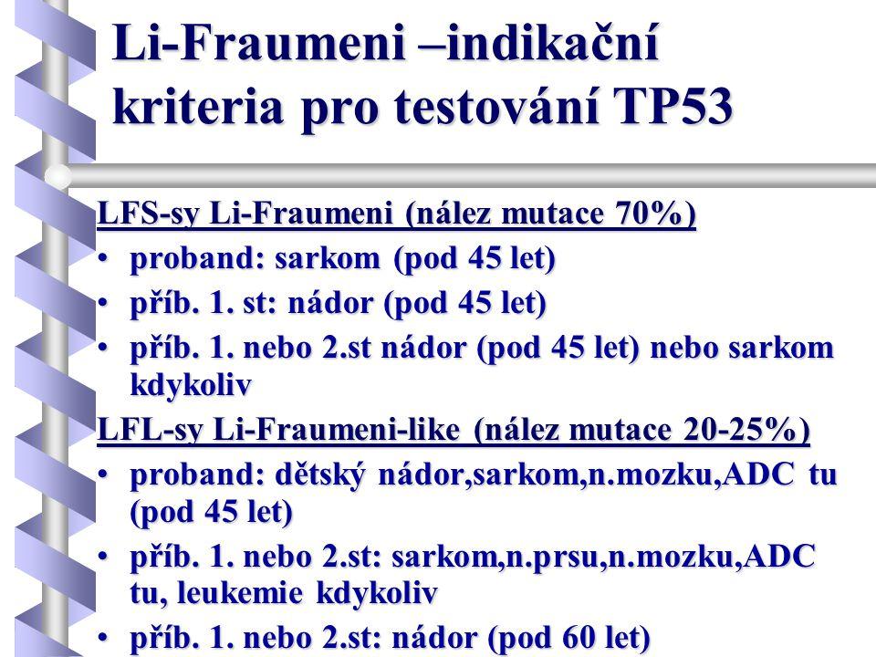 Li-Fraumeni –indikační kriteria pro testování TP53