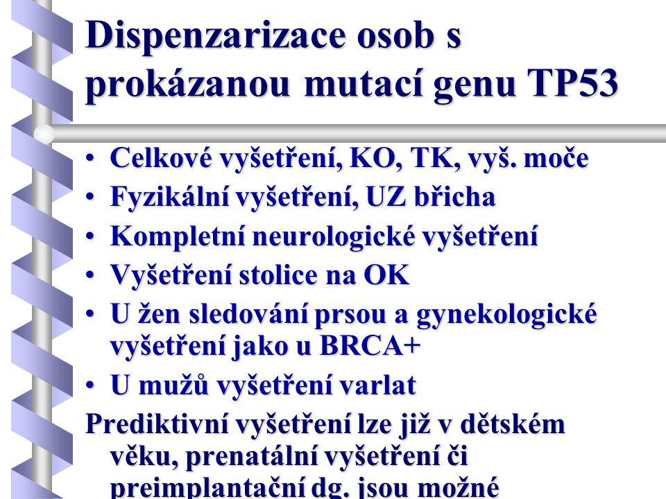 Dispenzarizace osob s prokázanou mutací genu TP53