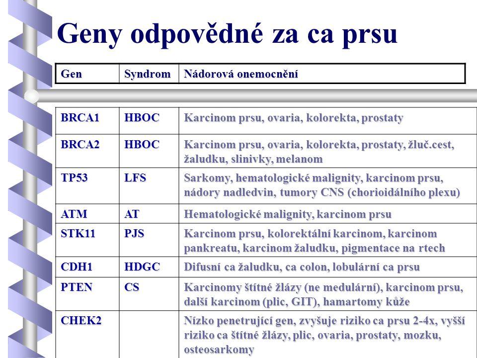 Geny odpovědné za ca prsu