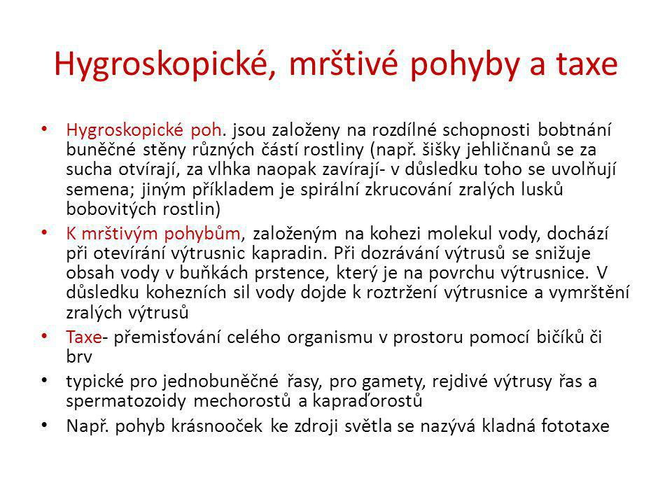 Hygroskopické, mrštivé pohyby a taxe