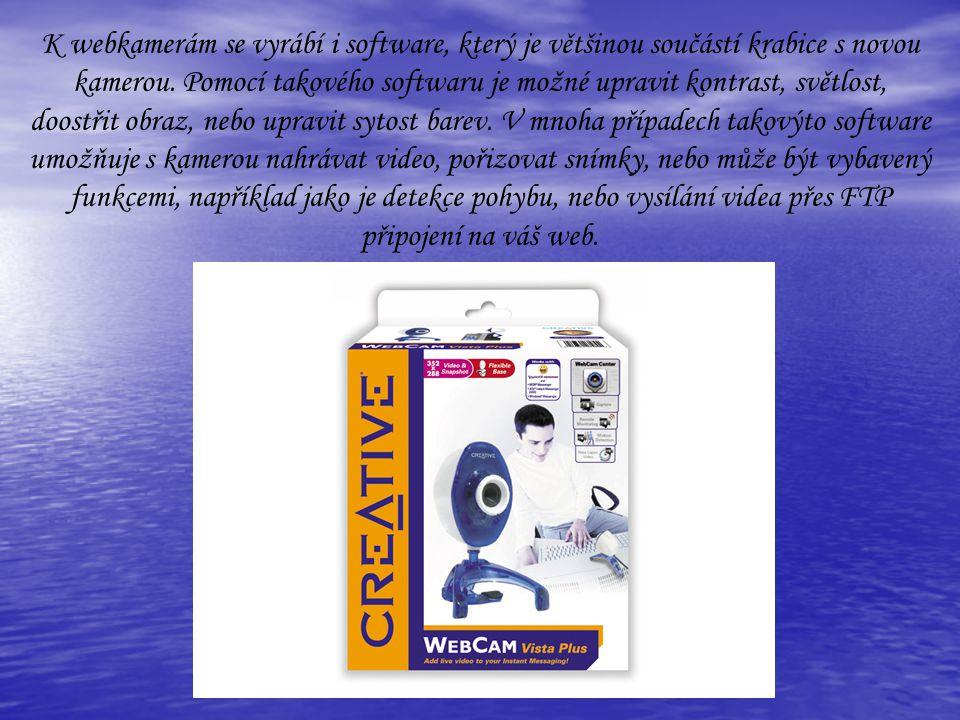 K webkamerám se vyrábí i software, který je většinou součástí krabice s novou kamerou.
