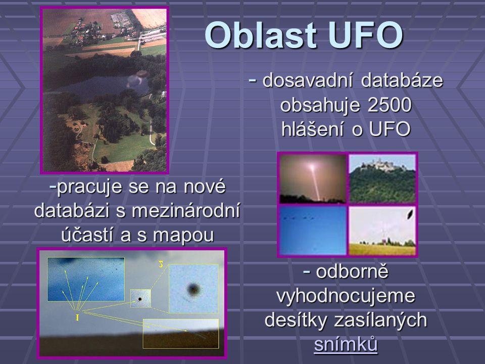 Oblast UFO dosavadní databáze obsahuje 2500 hlášení o UFO