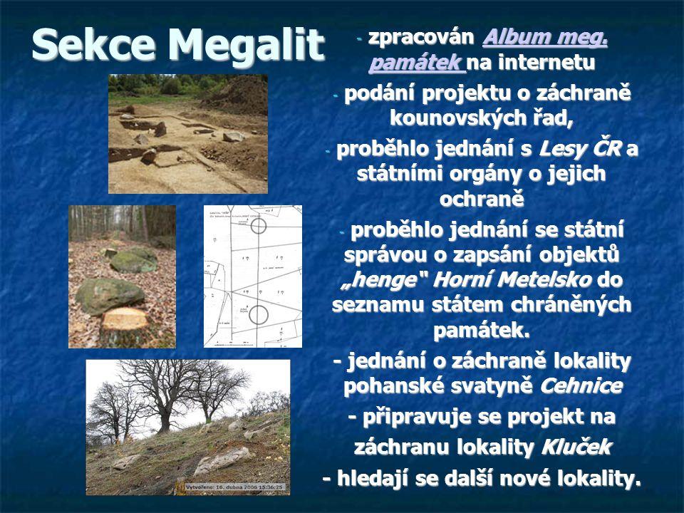 Sekce Megalit zpracován Album meg. památek na internetu