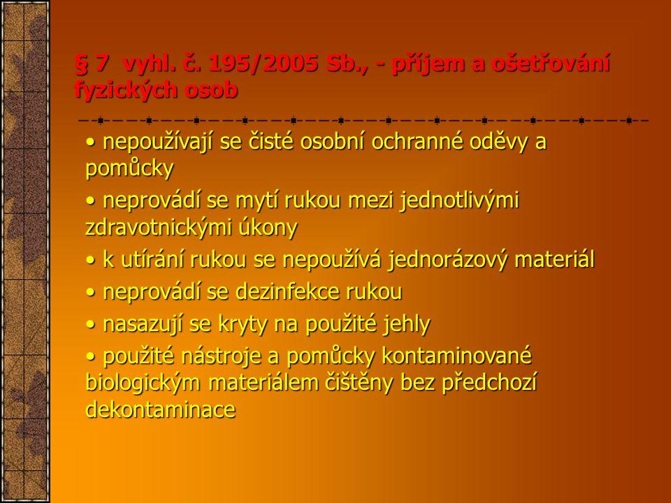 § 7 vyhl. č. 195/2005 Sb., - příjem a ošetřování fyzických osob