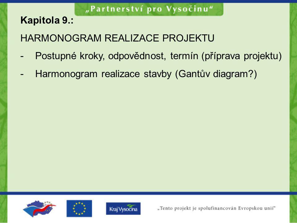 Kapitola 9.: HARMONOGRAM REALIZACE PROJEKTU. Postupné kroky, odpovědnost, termín (příprava projektu)