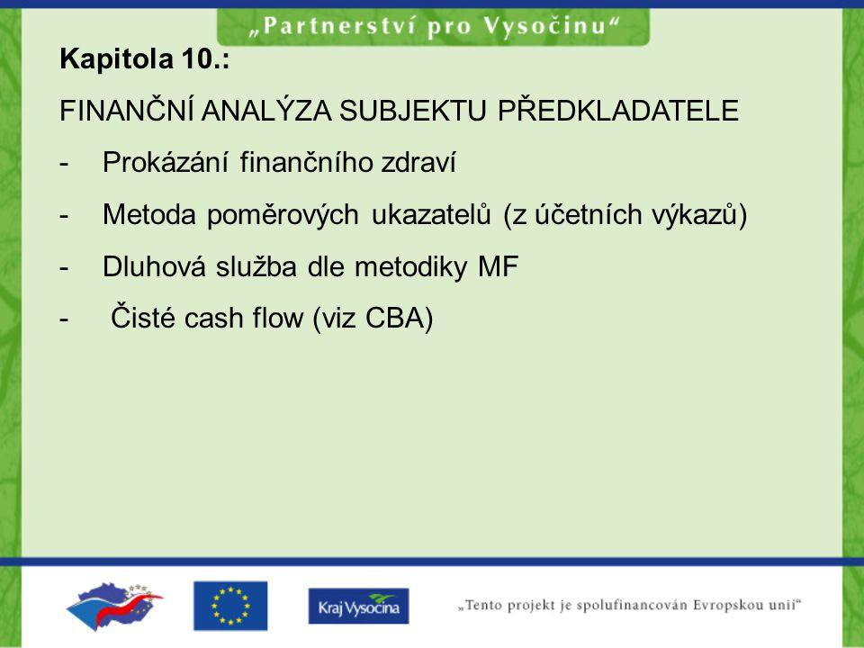 Kapitola 10.: FINANČNÍ ANALÝZA SUBJEKTU PŘEDKLADATELE. Prokázání finančního zdraví. Metoda poměrových ukazatelů (z účetních výkazů)