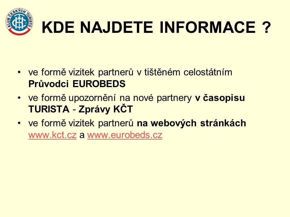 KDE NAJDETE INFORMACE ve formě vizitek partnerů v tištěném celostátním Průvodci EUROBEDS.