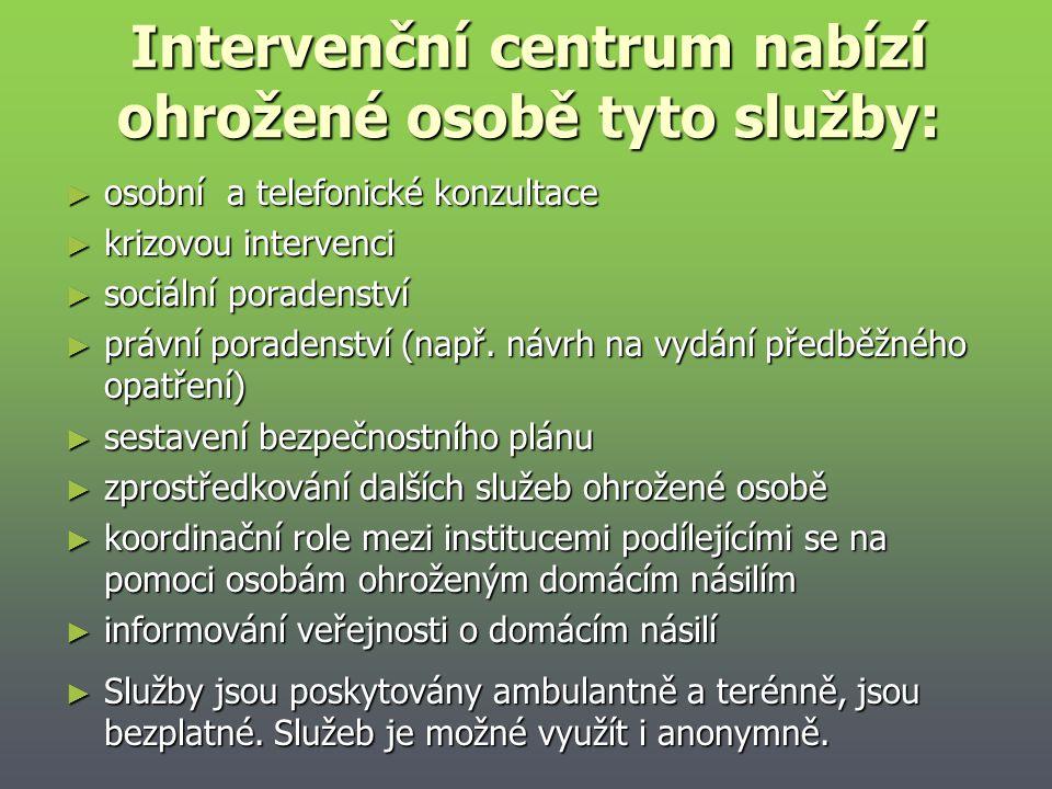 Intervenční centrum nabízí ohrožené osobě tyto služby: