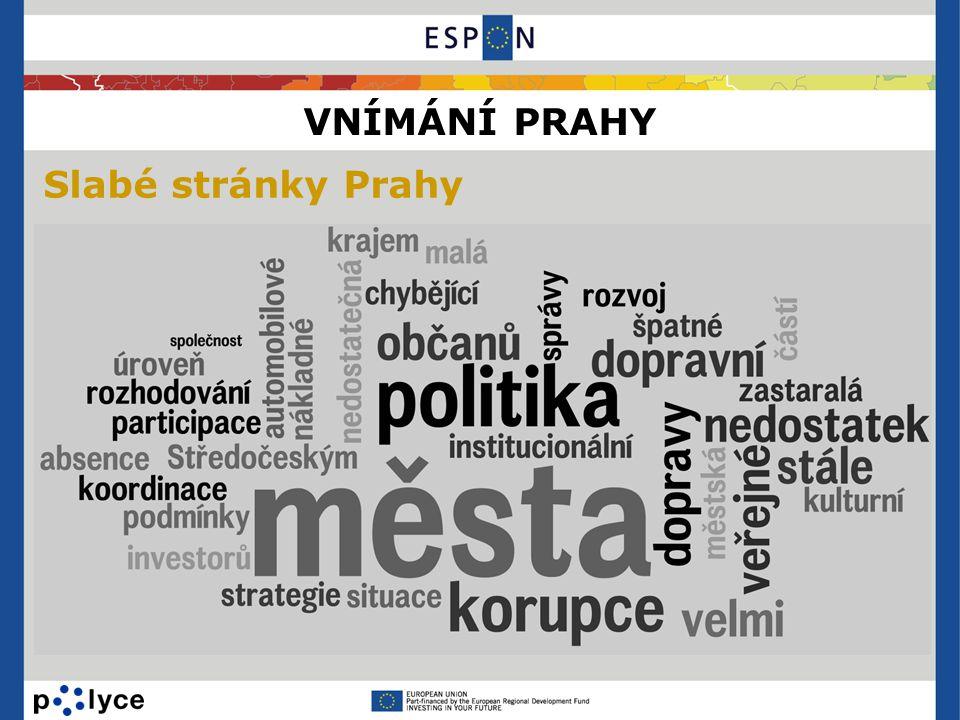 VNÍMÁNÍ PRAHY Slabé stránky Prahy
