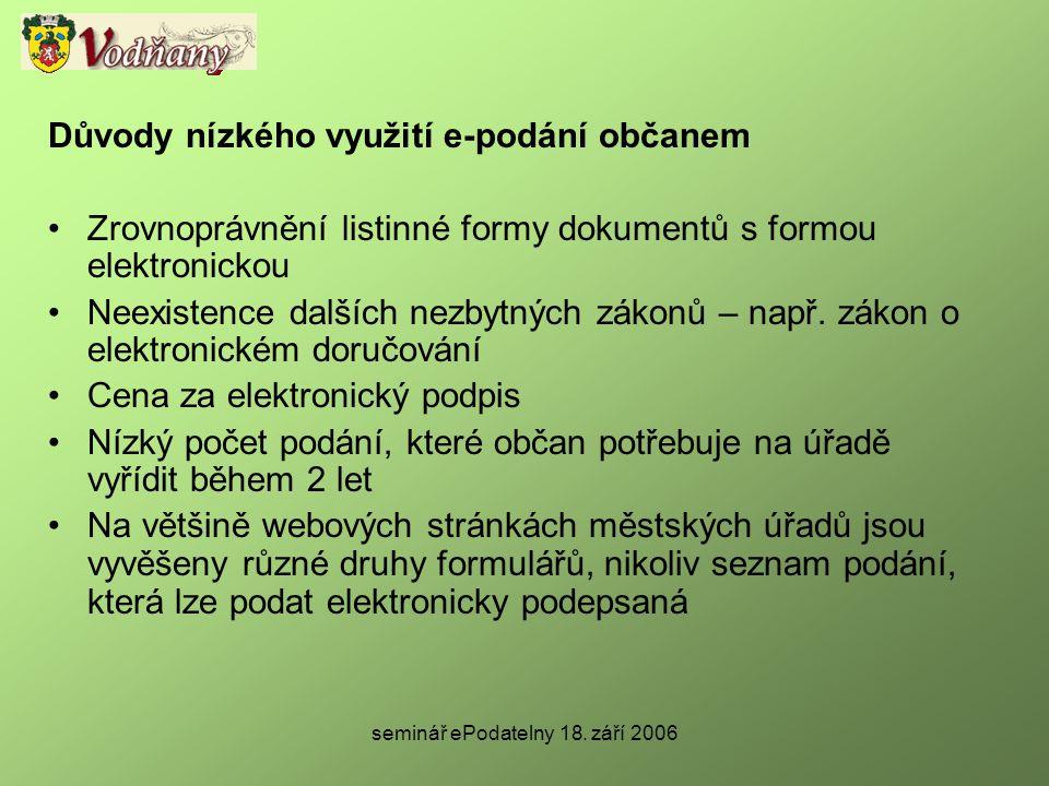 seminář ePodatelny 18. září 2006