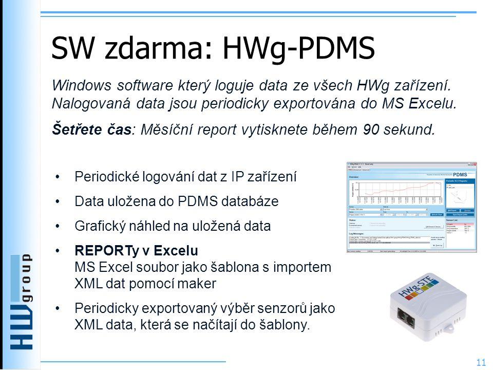 SW zdarma: HWg-PDMS Windows software který loguje data ze všech HWg zařízení. Nalogovaná data jsou periodicky exportována do MS Excelu.