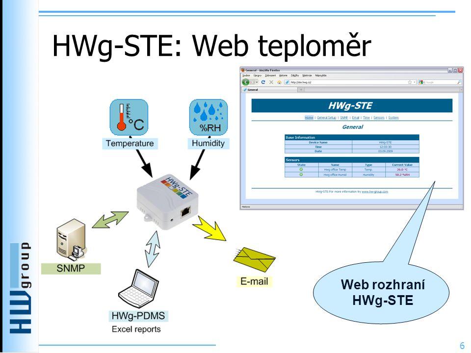 HWg-STE: Web teploměr Web rozhraní HWg-STE