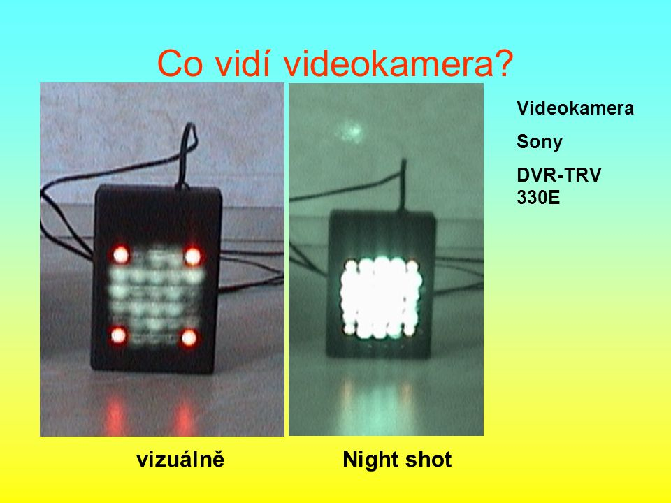 Co vidí videokamera Videokamera Sony DVR-TRV 330E vizuálně Night shot