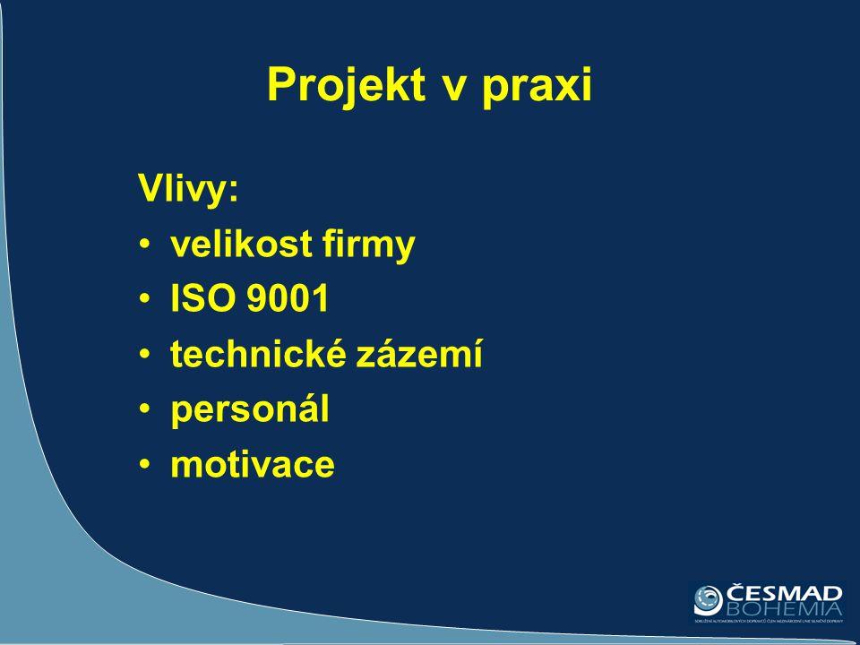 Projekt v praxi Vlivy: velikost firmy ISO 9001 technické zázemí
