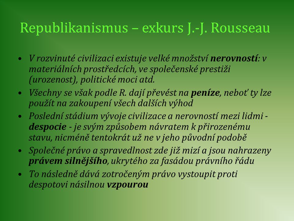 Republikanismus – exkurs J.-J. Rousseau