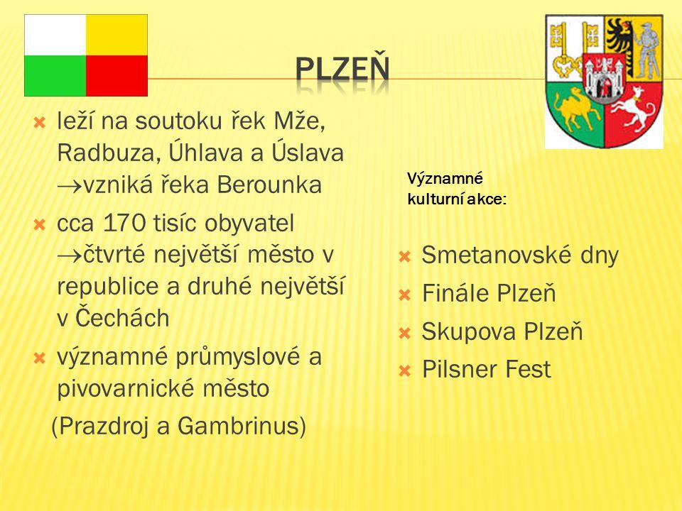 Plzeň leží na soutoku řek Mže, Radbuza, Úhlava a Úslava vzniká řeka Berounka.