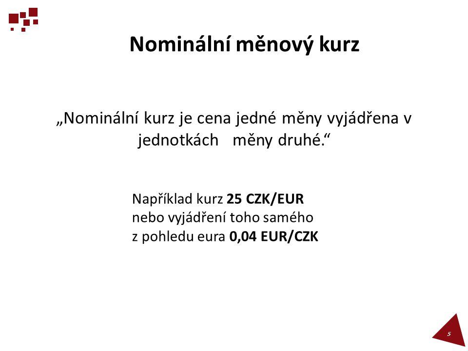 """""""Nominální kurz je cena jedné měny vyjádřena v jednotkách měny druhé."""