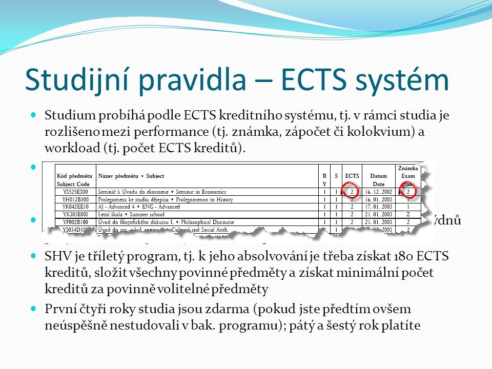 Studijní pravidla – ECTS systém