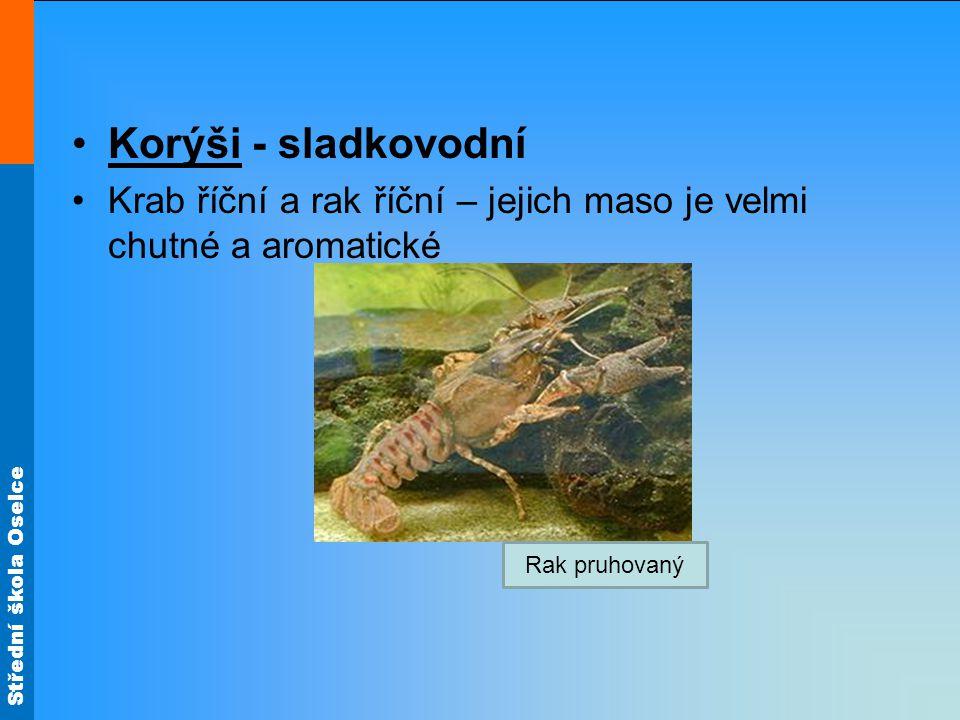 Korýši - sladkovodní Krab říční a rak říční – jejich maso je velmi chutné a aromatické.