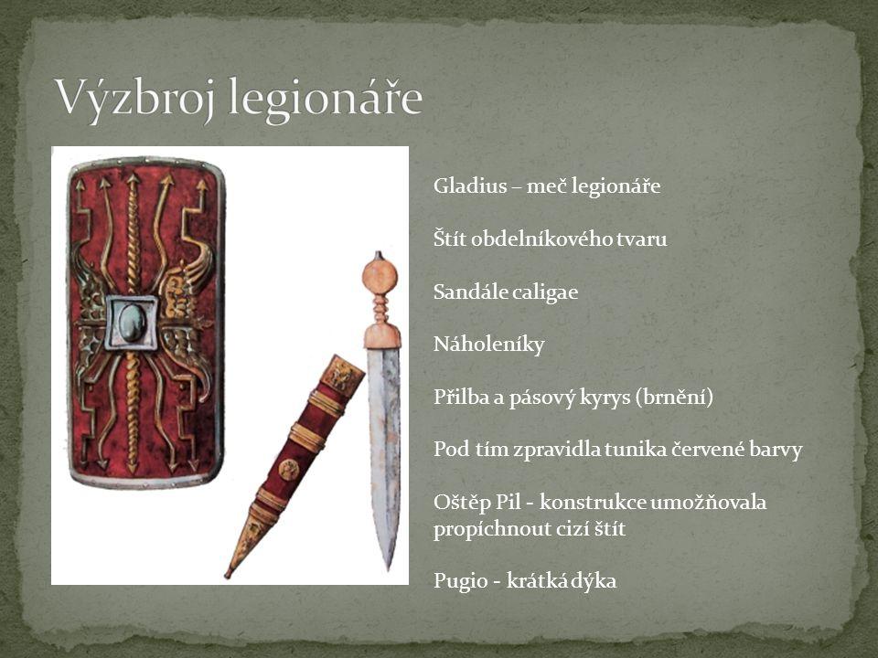 Výzbroj legionáře Gladius – meč legionáře Štít obdelníkového tvaru