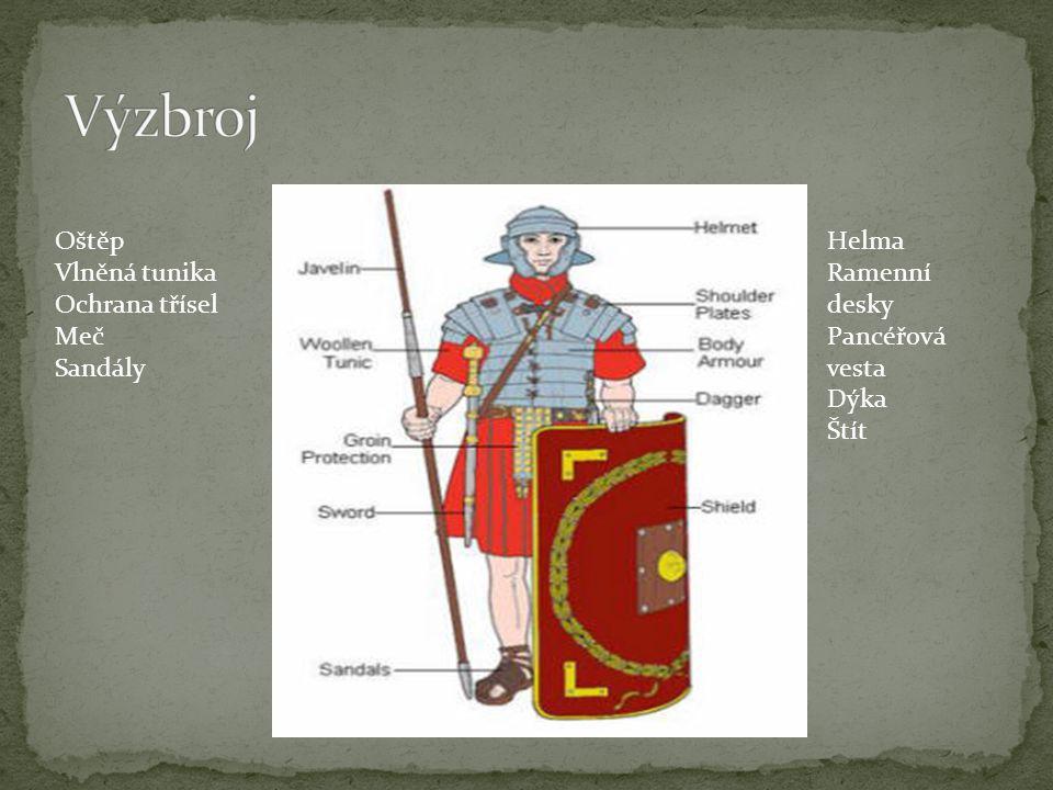 Výzbroj Oštěp Vlněná tunika Ochrana třísel Meč Sandály Helma