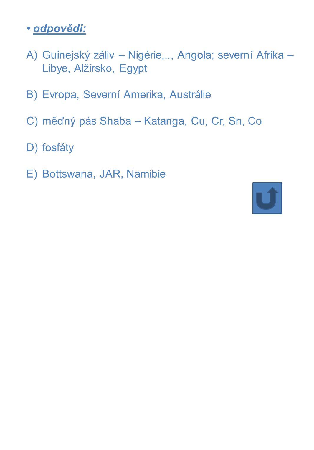 • odpovědi: Guinejský záliv – Nigérie,.., Angola; severní Afrika – Libye, Alžírsko, Egypt. Evropa, Severní Amerika, Austrálie.