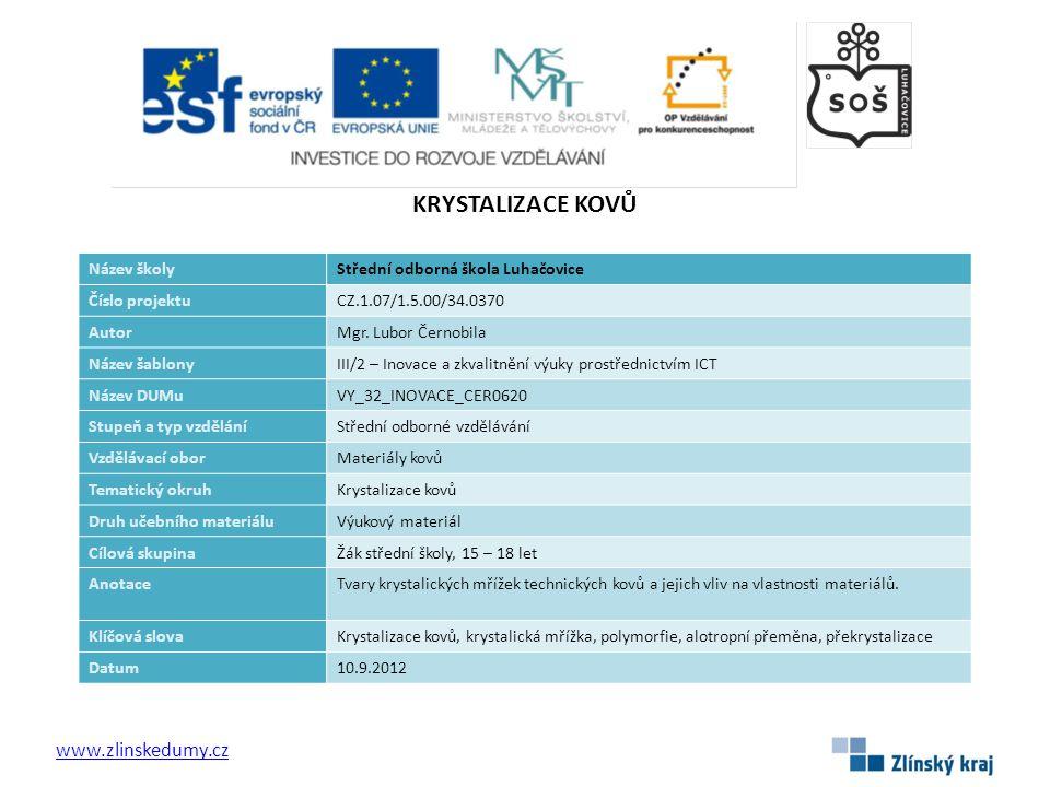 KRYSTALIZACE KOVŮ www.zlinskedumy.cz Název školy