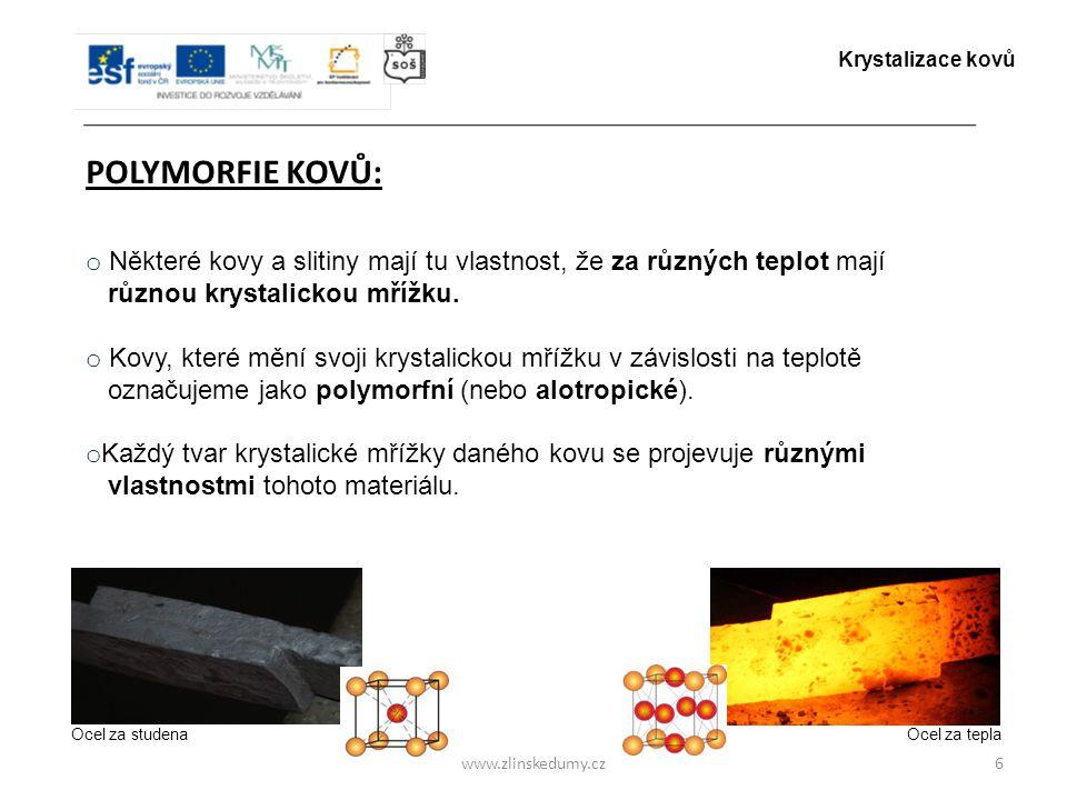 Krystalizace kovů POLYMORFIE KOVŮ: Některé kovy a slitiny mají tu vlastnost, že za různých teplot mají.