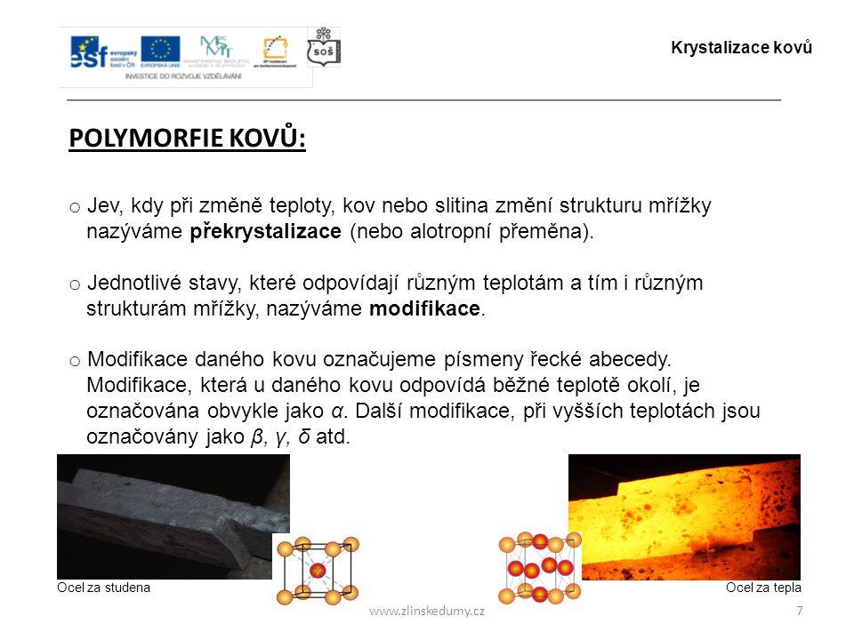 Krystalizace kovů POLYMORFIE KOVŮ: Jev, kdy při změně teploty, kov nebo slitina změní strukturu mřížky.