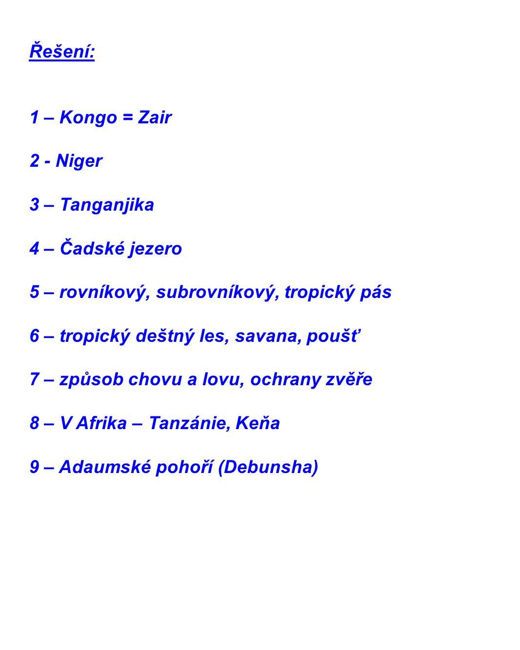 Řešení: 1 – Kongo = Zair. 2 - Niger. 3 – Tanganjika. 4 – Čadské jezero. 5 – rovníkový, subrovníkový, tropický pás.