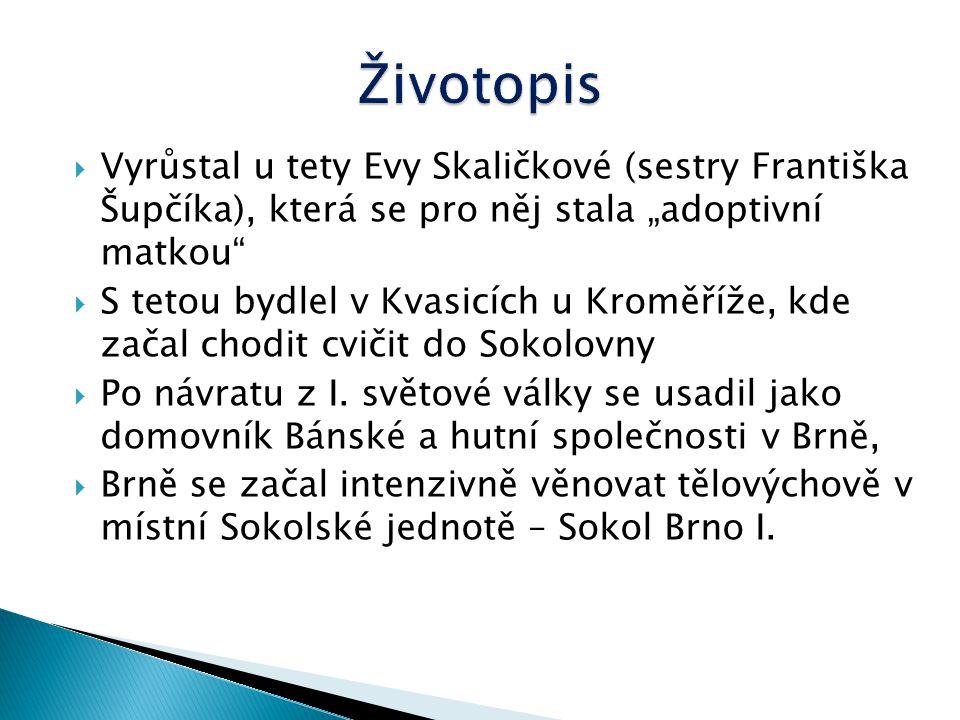 """Životopis Vyrůstal u tety Evy Skaličkové (sestry Františka Šupčíka), která se pro něj stala """"adoptivní matkou"""