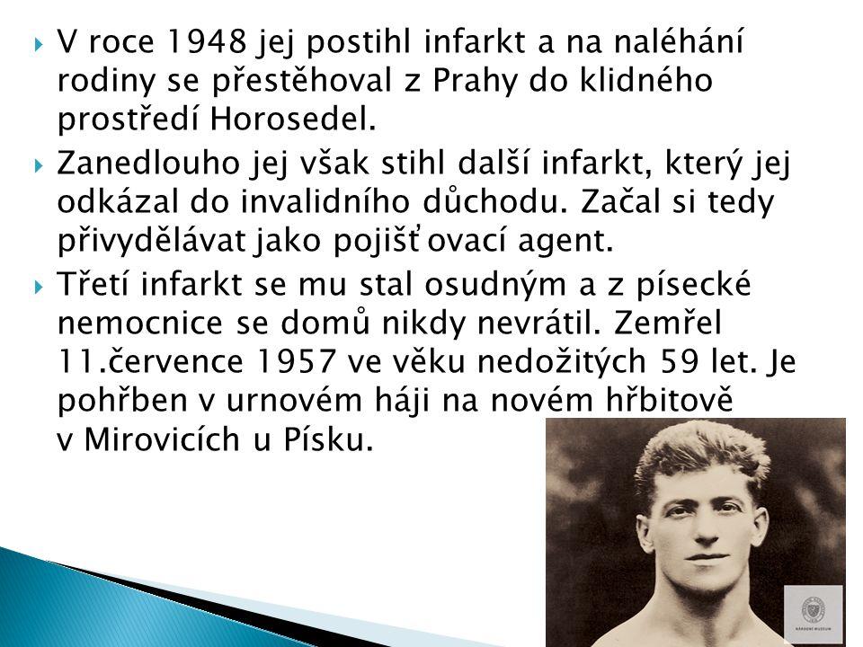 V roce 1948 jej postihl infarkt a na naléhání rodiny se přestěhoval z Prahy do klidného prostředí Horosedel.