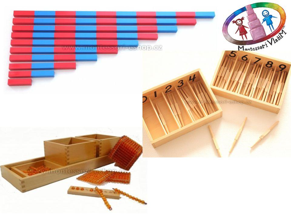 Početní tyče - Pomůcka patří do první skupiny matematických Montessori pomůcek, které uvádí dítě do říše čísel a zavádí množstevní jednotky a ilustruje jejich využití při početních cvičeních do deseti. Na podložku umístěnou na podlaze náhodně rozložíte všechny tyče a v postupných cvičeních, kdy dítě skládá na podlaze z tyčí schody, se učí rozeznávat pravidelné rozdíly v jejich délce a učí se tak postupně počítat od 1 d o 10 a díky vnímání rozdílů délek si i uvědomovat praktický význam čísel a jejich posloupnost.