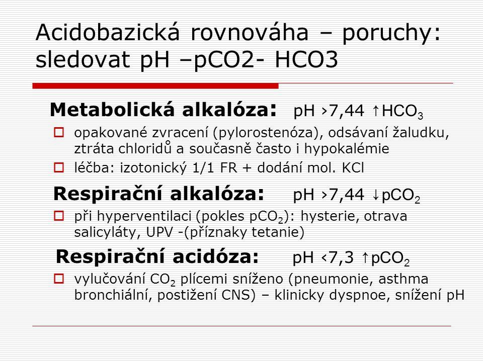 Acidobazická rovnováha – poruchy: sledovat pH –pCO2- HCO3