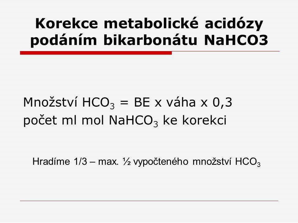 Korekce metabolické acidózy podáním bikarbonátu NaHCO3